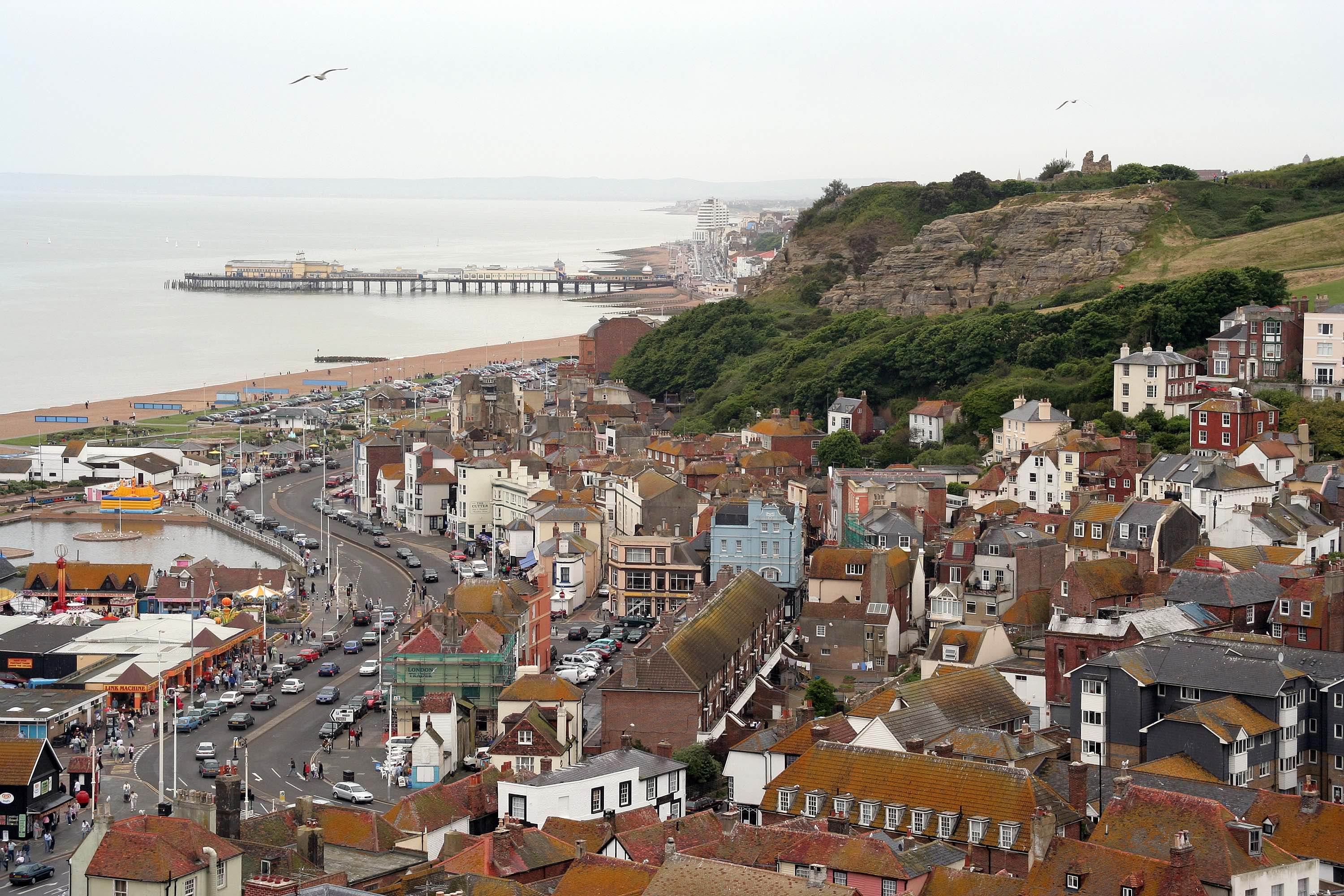 Overlooking Hastings Old Town and the sea front